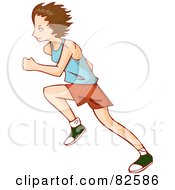 Profile Of A Running Boy In A Blue Shirt Orange Shorts And Green Shoes