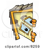 Clipart Picture Of A House Mascot Cartoon Character Peeking Around A Corner