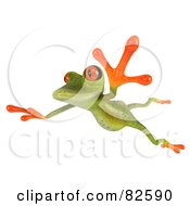 Royalty Free RF Clipart Illustration Of A 3d Springer Frog Leaping To The Left