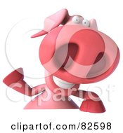 Royalty Free RF Clipart Illustration Of A 3d Pookie Pig Character Waving And Holding A Blank Sign