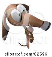 Royalty Free RF Clipart Illustration Of A 3d Brown Pookie Wiener Dog Character Standing And Looking At A Blank Sign