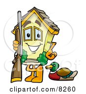 House Mascot Cartoon Character Duck Hunting Standing With A Rifle And Duck