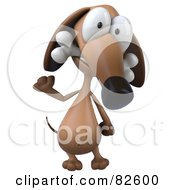 3d Brown Pookie Wiener Dog Character Standing With A Bone In His Mouth