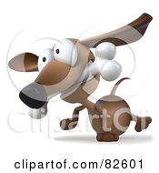 Royalty Free RF Clipart Illustration Of A 3d Brown Pookie Wiener Dog Character Walking With A Bone In His Mouth