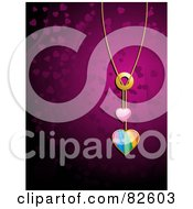 Royalty Free RF Clipart Illustration Of A Shiny Rainbow Heart Pendant Necklace Over A Purple Background by elaineitalia