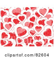 Royalty Free RF Clipart Illustration Of A Background Of White And Red Doodled Hearts by elaineitalia