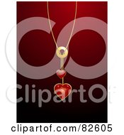 Royalty Free RF Clipart Illustration Of A Shiny Red Heart Pendant Necklace Over A Red Background