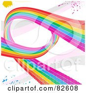 Grungy Rainbow Swoosh Background With Splatters And Halftone On White