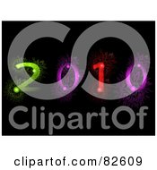 Royalty Free RF Clipart Illustration Of A Colorful 2010 Made Of Fireworks On Black by elaineitalia