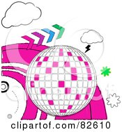 Royalty Free RF Clipart Illustration Of A Doodled Disco Ball With Forward Arrows Clouds Bursts And Pink Waves