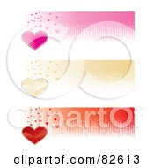 Digital Collage Of Three Pink Gold And Red Heart Website Banners