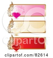 Digital Collage Of Three Pink Golden And Red Heart Website Banners With Gold Rims