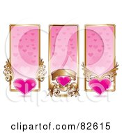 Royalty Free RF Clipart Illustration Of A Digital Collage Of Three Vertical Pink And Gold Heart Website Banners by MilsiArt