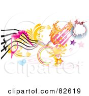 Royalty Free RF Clipart Illustration Of A Rungy Funky Music Design Of Hearts Stars Spirals by MilsiArt
