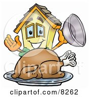 Clipart Picture Of A House Mascot Cartoon Character Serving A Thanksgiving Turkey On A Platter