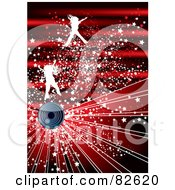 Royalty Free RF Clipart Illustration Of A Red Burst Background Of White Jumping Girls With Stars Over A Speaker by MilsiArt