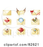Digital Collage Of Nine Golden Envelopes With Hearts Wings Bows Compasses Champagne Disco Balls And Play Buttons
