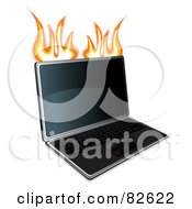 Royalty Free RF Clipart Illustration Of A Flaming Modern Laptop by MilsiArt