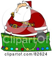 Royalty Free RF Clipart Illustration Of Santa Wearing A Stash Of Jingle Bells And Standing In A Giant Green Christmas Gift Bag by djart