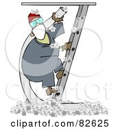 Worker Man Climbing A Ladder And Holding An Insulation Hose Insulation On The Floor Below