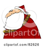 Profile Of Santa In A Red Suit And Hat His Long Beard Flowing Over A Sash Of Bells