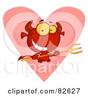 Royalty Free RF Clipart Illustration Of A Grinning Devily Guy Holding A Pitchfork In Front Of A Heart