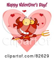 Royalty Free RF Clipart Illustration Of Happy Valentines Day Text Over A Devil Guy Holding A Pitchfork In Front Of A Heart