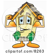Clipart Picture Of A House Mascot Cartoon Character Flexing His Arm Muscles
