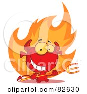 Royalty Free RF Clipart Illustration Of A Grinning Devily Guy Holding A Pitchfork In Front Of Fire