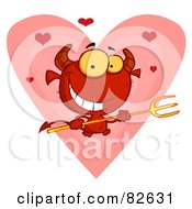 Royalty Free RF Clipart Illustration Of Hearts Over A Devil Guy Holding A Pitchfork In Front Of A Heart