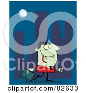 Royalty Free RF Clipart Illustration Of A Vampire Businessman In A Red Suit Carrying A Briefcase And Walking In A City At Night