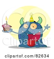Royalty Free RF Clipart Illustration Of A Happy Blue Birthday Monster Wearing A Party Hat And Holding A Slice Of Cake
