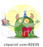 Royalty Free RF Clipart Illustration Of A Happy Green Birthday Monster Wearing A Party Hat And Holding A Slice Of Cake