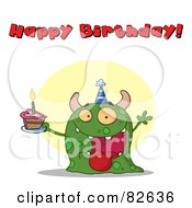 Royalty Free RF Clipart Illustration Of A Happy Birthday Text Above A Green Birthday Monster Wearing A Hat And Holding Cake