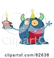 Royalty Free RF Clipart Illustration Of A Spotted Blue Birthday Monster Wearing A Party Hat And Holding A Slice Of Cake