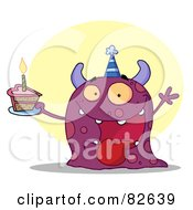 Royalty Free RF Clipart Illustration Of A Happy Purple Birthday Monster Wearing A Party Hat And Holding A Slice Of Cake