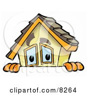 Clipart Picture Of A House Mascot Cartoon Character Peeking Over A Surface