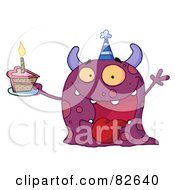 Royalty Free RF Clipart Illustration Of A Spotted Purple Birthday Monster Wearing A Party Hat And Holding A Slice Of Cake