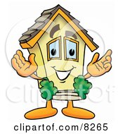 Clipart Picture of a House Mascot Cartoon Character With Welcoming Open Arms by Toons4Biz #COLLC8265-0015