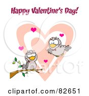 Royalty Free RF Clipart Illustration Of A Pair Of Romantic Turtle Doves With Hearts And Happy Valentines Day Text