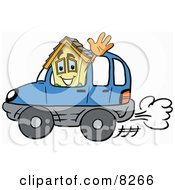 Clipart Picture Of A House Mascot Cartoon Character Driving A Blue Car And Waving