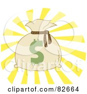 Royalty Free RF Clipart Illustration Of A Money Bag Sack With A Dollar Symbol And Bright Light by Hit Toon