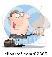 Royalty Free RF Clipart Illustration Of A Hyper Businessman With A Steamy Hot Cup Of Coffee Carrying A Briefcase Over A Blue Circle