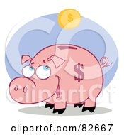 Royalty Free RF Clipart Illustration Of A Happy Piggy Bank Watching A Coin Fall Into His Slot by Hit Toon