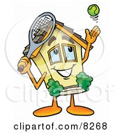Clipart Picture Of A House Mascot Cartoon Character Preparing To Hit A Tennis Ball