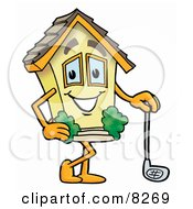 Clipart Picture Of A House Mascot Cartoon Character Leaning On A Golf Club While Golfing
