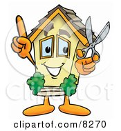 House Mascot Cartoon Character Holding A Pair Of Scissors