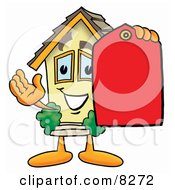 Clipart Picture Of A House Mascot Cartoon Character Holding A Red Sales Price Tag
