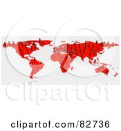 Royalty Free RF Clipart Illustration Of A 3d Red Human Network Map by Tonis Pan