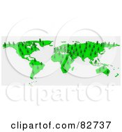 Royalty Free RF Clipart Illustration Of A 3d Green Human Network Map by Tonis Pan